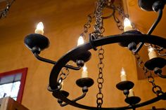 What is Mexican wrought iron chandelier? One may assume that any lamp from metal produced in the country would be called that way. And probably he& wouldn't be mistaken. Hacienda Homes, Hacienda Style, Hotel Foyer, Ceiling Lamp, Ceiling Lights, Wrought Iron Chandeliers, Garden Products, Iron Work, That Way