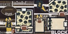 Score Football Paper Piecing Scrapbooking 2 Premade 12x12 Pages Boy Cherry | eBay