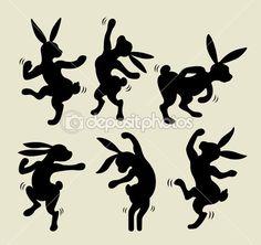 dancing rabbit silhuet