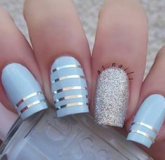 Image de nails, blue, and nail art