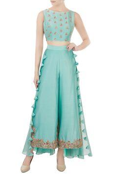 Buy Pastel Blue Color Plazo Dress by Akanksha Singh at Fresh Look Fashion Sharara Designs, Kurti Designs Party Wear, Indian Attire, Indian Outfits, Look Fashion, Indian Fashion, Stylish Dresses, Fashion Dresses, Indian Gowns Dresses