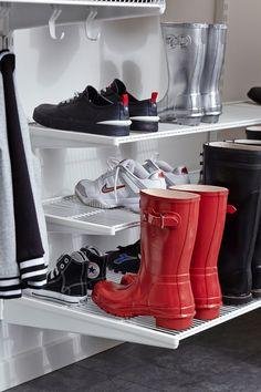 Elfa Shelving, Modular Shelving, Garage Shelving, Elfa Closet, Closets, Shelving Solutions, Walk In Wardrobe, Shoe Organizer, Container Store
