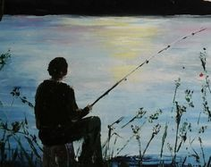 Pêcheur solitaire ,Huile au couteau, peinture paysage , artiste français, création unique,livraison offerte