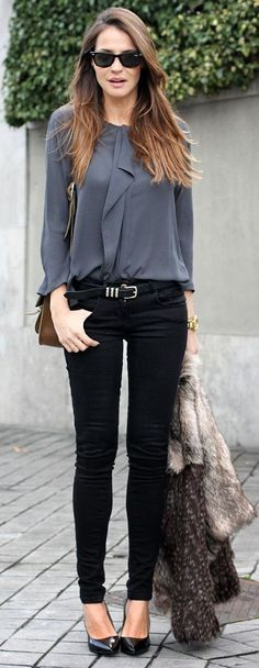 Latest fashion trends: Women's fashion | Ruffling grey blouse, skinnies, heels and fur coat