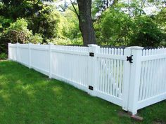Landscaping And Outdoor Building , Picket Backyard Fence Designs : Vinyl Picket . Vinyl Picket Fence, White Picket Fence, White Fence, Cedar Fence, Wood Fences, Picket Fences, Backyard Fences, Fenced In Yard, Backyard Landscaping