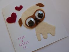 cute Valentine's Day handmade felt pug dog card & envelope