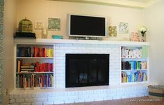 how to paint brick fireplace | Finally} Painted Our Fireplace | My Life and Kids