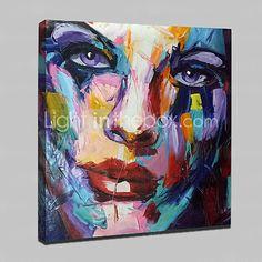 Pintada a mano Abstracto / Personas / Retratos Abstractos Pinturas de óleo,Modern Un Panel Lienzos Pintura al óleo pintada a colgar For 2017 - $84.99