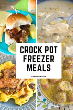 21 Crock Pot Freezer Meals to stock the freezer for meal planning, when the baby is coming or for busy families who need help with dinner. Homemade Meat Sauce, Meat Sauce Recipes, Chef Recipes, Raw Food Recipes, Pork Recipes, Slow Cooker Recipes, Mexican Food Recipes, Crockpot Recipes, Healthy Recipes