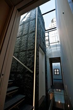Skylights surround the top of the granite-covered elevator shaft.