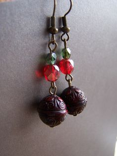 Christmas Bali Style Red and Green Dangle by autumnraincreations, $14.00