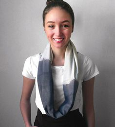 Short Raw Silk Scarf | Naturally dyed by hand, this raw silk scarf is textured and un... | Scarves & Shawls
