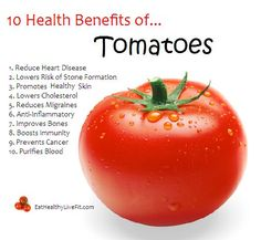 TOMATOES Superfood - Reduced risk of heart disease is an area of health benefits in which nutrition health 391672498820208880 Health Benefits Of Tomatoes, Fruit Benefits, Coconut Health Benefits, Tomato Benefits, Weight Loss Meals, Health And Nutrition, Health And Wellness, Health Facts, Nutrition Tracker