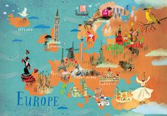 Europe / Continents / Postcards / Postallove - postcards made with love Continents And Oceans, Travel Captions, Pictorial Maps, Europe Continent, Travel Illustration, City Maps, Map Art, Travel Posters, Kids Learning