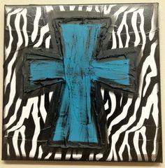 Turquoise Zebra Cross Textured Canvas by ClassyCanvas on Etsy,