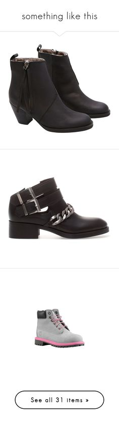 """""""something like this"""" by elfemme ❤ liked on Polyvore featuring shoes, boots, heels, sapatos, botas, black, black high heel boots, short boots, short leather boots and high heel boots"""