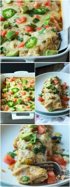 Easy Chicken Enchilada Recipe topped with a Creamy Green Chili Sauce that's made with Greek Yogurt, smoked paprika, and spicy green chilis! An easy weeknight meal that beats going out! | joyfulhealthyeats.com #recipes