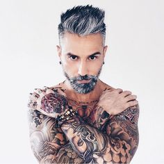 """""""@silver.fox.x tattoos and beard looks slick and powerful this man #keepgrowing…"""