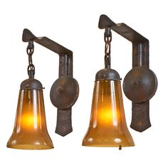 "Gustav Stickley, pair of wall sconces, no.602, Eastwood, NY, hand-hammered copper, original glass, stamped signature to one, 5""w x 10""d x 12.5""h"