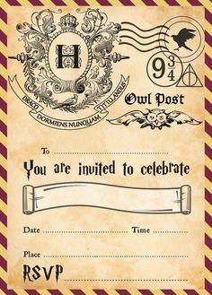 Harry Potter Party Invitations Plus FREE Envelopes Baby Harry Potter, Harry Potter Motto Party, Harry Potter Invitations, Harry Potter Halloween Party, Harry Potter Classroom, Harry Potter Printables, Harry Potter Baby Shower, Images Harry Potter, Theme Harry Potter