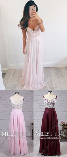 Pink Prom Dresses,Long Formal Evening Dresses,A-line Graduation Dresses Unique,V-neck Pageant Party Dresses Chiffon,Lace Military Ball Dresses Elegant #MillyBridal #pinkdress #prom