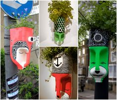 A guerilla gardening project by Anna Garforth. Turning milk bottles into characters with plant does. Some of these guys took to the streets, while others couldn't handle getting their hair wet.Ideas que mejoran tu vidaWhat Is Organic Gardening Code Recycled Planters, Recycled Bottles, Recycled Crafts, Diy And Crafts, Arts And Crafts, Plastic Bottle Planter, Plastic Bottle Crafts, Recycle Plastic Bottles, Zen Sand