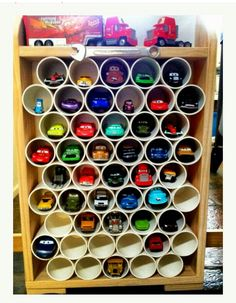 pvc pipes for organizing toy cars