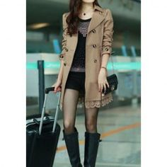 $18.07 Lace Splicing Double-Breasted Polyester Long Sleeves Fashionable Style Dust Coat For Women