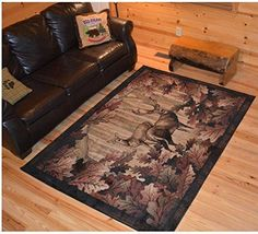 Wildlife Deer Themed Area Rug Lodge Hunting Animal Game Flooring Cabins Cottages Home Living Room Rustic Nature Inspired Rectangle Carpet Mat Stain