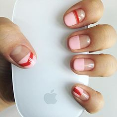 Have you discovered your nails lack of some trendy nail art? Yes, lately, many girls personalize their nails with lovely … Sns Nails Colors, Red Nails, Hair And Nails, Minimalist Nails, Trendy Nail Art, Stylish Nails, Gorgeous Nails, Perfect Nails, Cute Nails