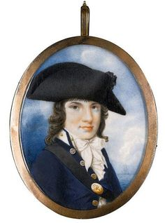 English School, late 18th Century - PORTRAIT OF A NAVEL OFFICER - Watercolour and gouache on ivory, gold frame, hair reverse decorated with the sitter's momogram; signed lower left with the artist's monogram: JB 71 by 55 mm