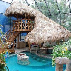Tiki bar/pool I want this in my back yard !!!
