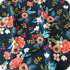 Tissu Cotton & Steel Brich Floral - Navy