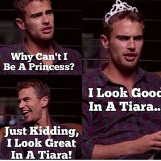 Theo James wearing a tiara