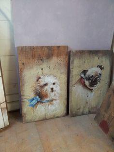 quadri su tavole vecchie - teste di cani