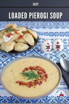 This Loaded Pierogi Soup is a delicious and healthy Ukrainian soup with all the flavors of loaded pierogies! Bacon, potatoes, cheese, dill, cabbage,onion and sour cream are combined to create a creamy blended soup that's hearty enough for a meal! #soup #ukrainian #pierogi #perogies #fathersday #healthy #easy #perogy #loadedpierogi #bacon #onion #cheese Bacon Cheese Potatoes, Bacon Potato, Cook Bacon In Microwave, Healthy Dessert Recipes, Dinner Recipes, Pierogi Recipe, Ukrainian Recipes, Ukrainian Food, Dessert