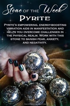 Pyrite is our stone of the week! This glittering gemstone activates the Solar Plexus Chakra: your center of willpower positivity and confidence. Start living the life of your dreams when you work with pyrite ? Crystal Healing Stones, Crystal Magic, Stones And Crystals, Gem Stones, Healing Rocks, Quartz Crystal, Minerals And Gemstones, Crystals Minerals, Rocks And Minerals