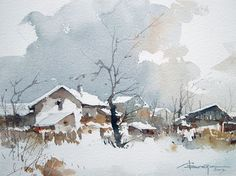Watercolour-Acuarela-Corneliu-Dragan-Targoviste-peisaj-rural-15