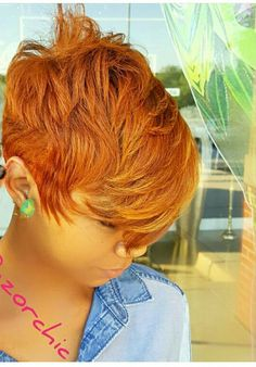 Dope cut and color! Dope cut and color! Short Sassy Hair, Cute Hairstyles For Short Hair, Hairstyles Haircuts, Short Hair Cuts, Short Hair Styles, Pixie Cuts, 27 Piece Hairstyles, Red Pixie, Black Hairstyles