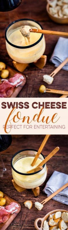 Traditional Swiss Cheese Fondue is deliciously rich and the perfect retro sharing dish to share at your Christmas dinner party.