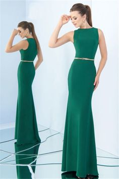 18e4c1b25db Sheath High Neck Full Back Sleeveless Green Jersey Evening Dress With Belt