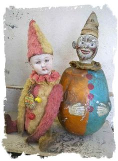 antique german doll head clown with antique roly-doly schoenhut clown | Flickr - Photo Sharing!