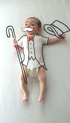 bébé Charlie Chaplin dessins à la main