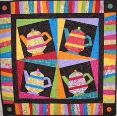 Paper pieced teapot...link to free download from Canton Village QuiltWorks
