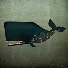 The Barnacle Whale GRAPHIC ART Illustration on Canvas 12x12x1.5 Signed Nautical wall art. $79.00, via Etsy.
