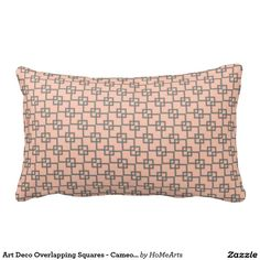 """Art Deco Overlapping Squares - Cameo Pink and Gray - The pattern on this cushy accent pillow was inspired by an Art Deco era (1920's-1930's) wallpaper which was inspired itself by Islamic tile patterns. Such a pedigree! As shown here, the repeating design of warm gray hollow rectangles in 3 different sizes overlap one another revealing the warm, cameo pink background. Beautiful on its own or mix 'n match w/ HoMeArts' """"Art Deco Finlandia"""" series. #art_deco_pillows #islamic_tile_patterns"""