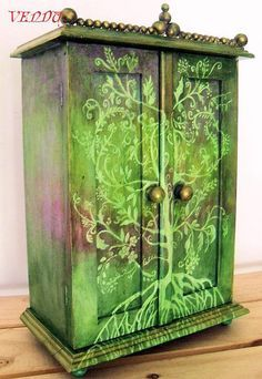 Elven cabinet. Stencil and spray paint, or sponge paint