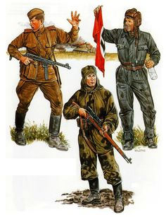 Red Army Battle of Kursk 1943: Infantry Lieutenant, sniper and Soviet tank crewman.