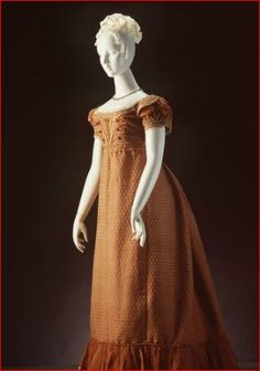 Evening dress, womens, figured silk / muslin / silk passementerie (trim), England, c. 1820. Powerhouse Museum, Australia.