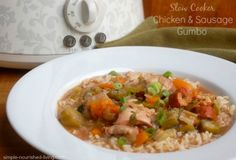 Slow cooker chicken and sausage gumbo, easy, healthy and delicious, family favorite, 270 calories, 7 Weight Watchers Points Plus